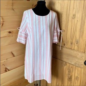 Skies are Blue red and white striped shift dress L